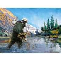 'Angler II' Hand Painted Canvas Wall Art