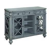 Burnished Blue 3 Drawer and 2 Door Open Display Credenza