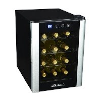 AB-WINE12S Black and Silver 12 Bottle Thermoelectric Wine Cooler