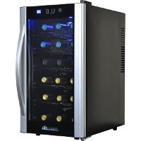 AB-WINE18S Black and Silver 18 Bottle Thermoelectric Wine Cooler