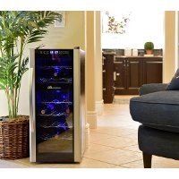 AB-WINE21DS Black and Silver 21 Bottle Thermoelectric Wine Cooler