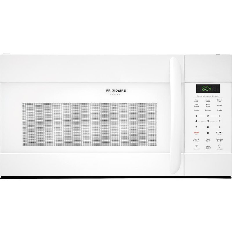 Fgmv176ntw Frigidaire Gallery White 1 7 Cu Ft Over The Range Microwave