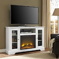 52 Inch White Highboy TV Stand with Fireplace