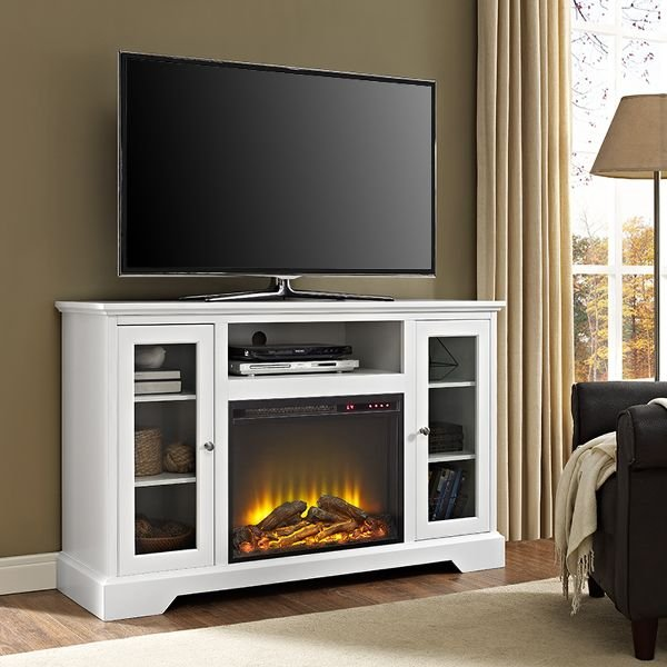 ... 52 Inch White Highboy TV Stand With Fireplace