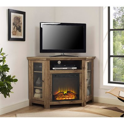 Utilize your corner space with this 48 inch rustic barn wood corner TV stand with fireplace from RC Willey. Its corner design makes this the perfect space saving unit while creating a warm