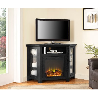 48 Inch Black Corner TV Stand With Fireplace