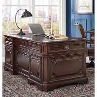75 Inch Cherry Brown Executive Desk - Sheffield