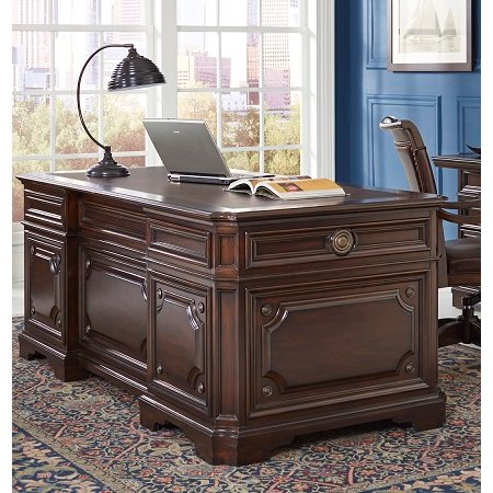 75 Inch Cherry Brown Executive Desk   Sheffield