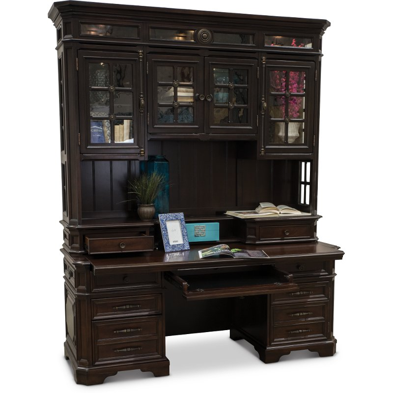 Cherry Brown Office Desk and Hutch - Sheffield