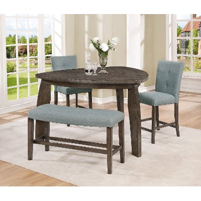 Gray 4 Piece Counter Height Tri Table Dining Set   Hollis
