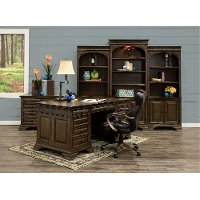 72 Inch Chestnut Brown Executive Office Desk - Arcadia