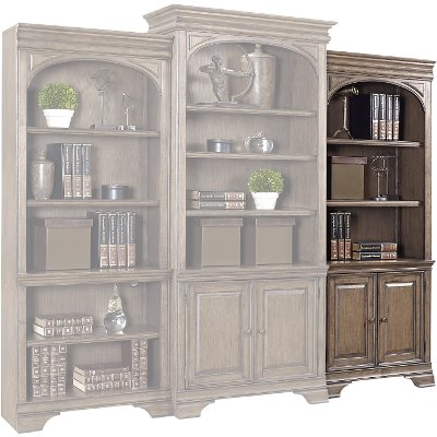 Chestnut Brown Bookshelf with Doors- Arcadia