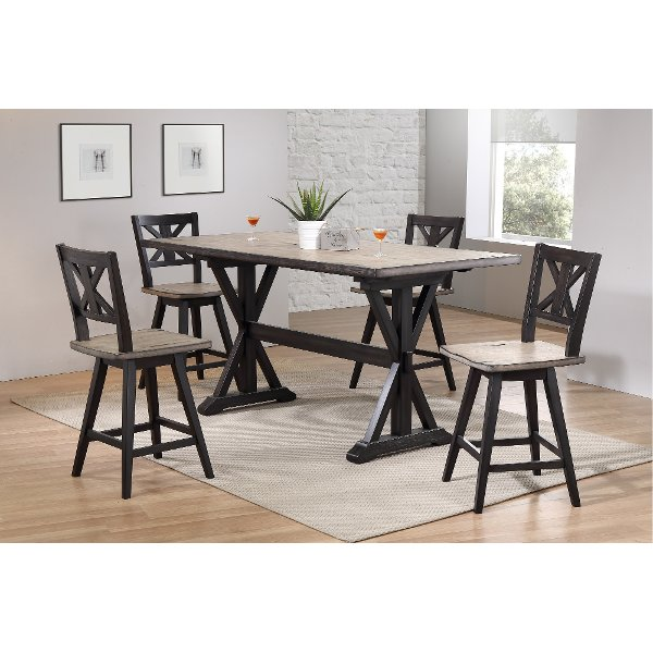 ... 2870/TABLE Sand And Black Counter Height Dining Table   Orlando
