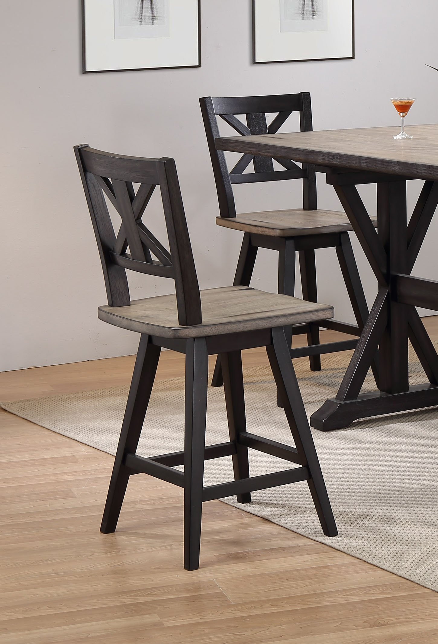 5 Piece Sand And Black Counter Height Dining Set Orlando