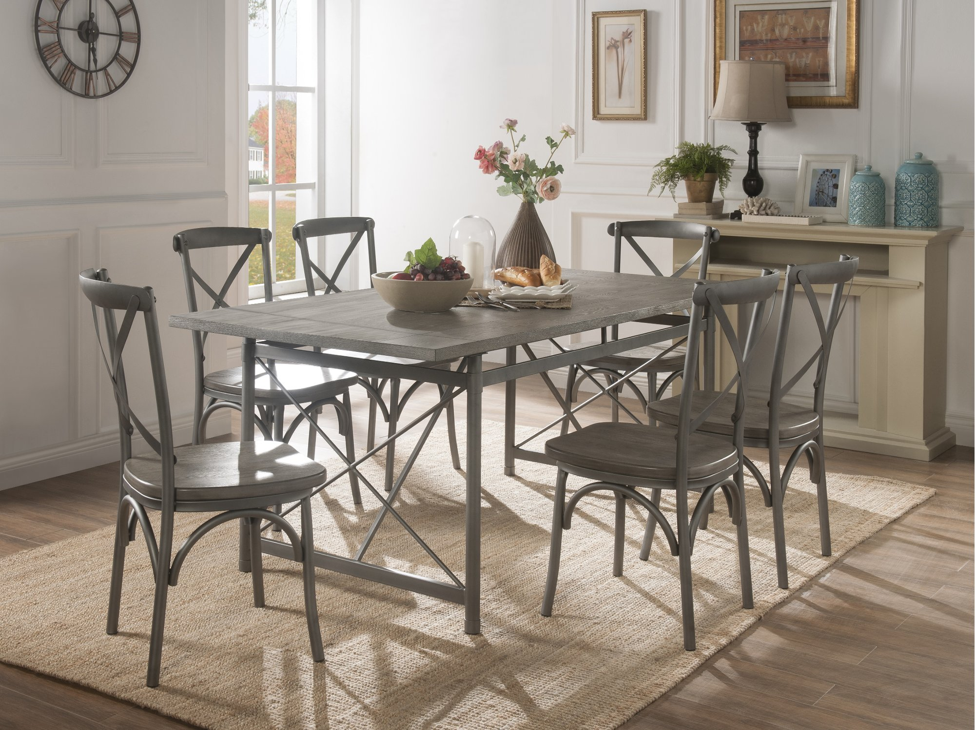 Industrial Weathered Wood And Metal 7 Piece Dining Set
