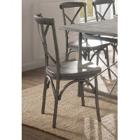 Clearance Industrial Weathered Wood and Metal Dining Chair - Gray