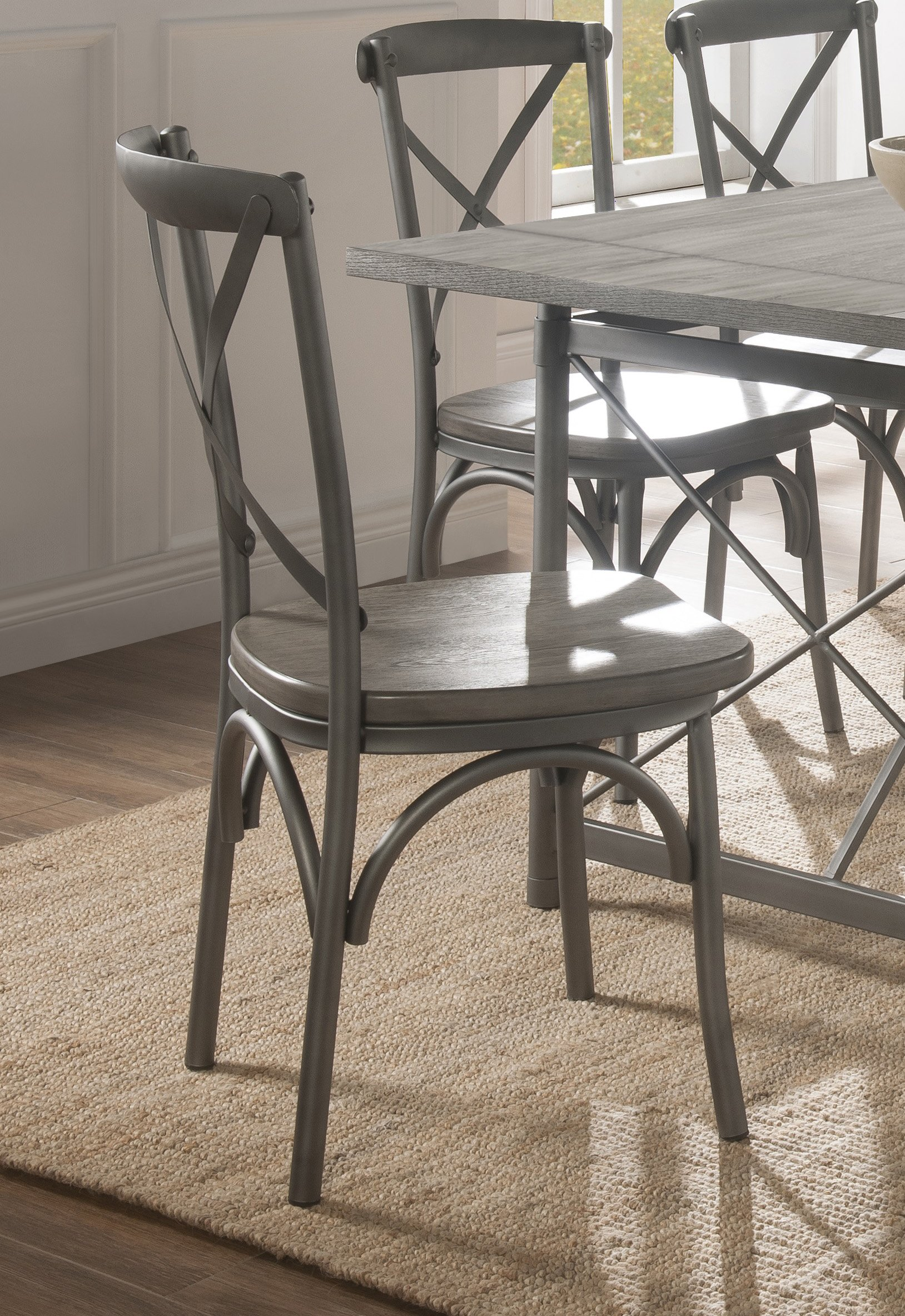 metal dining chairs wood table. Industrial Weathered Wood and Metal Dining Chair  Gray 7 Piece Set RC