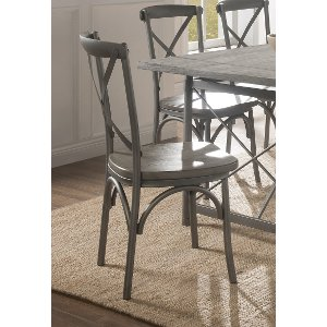 ... Industrial Weathered Wood And Metal Dining Chair   Gray