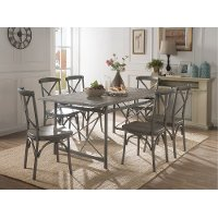 Industrial Weathered Wood and Metal 7 Piece Dining Set - Gray