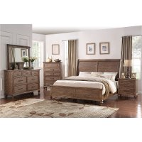 6PC:25192/FRANKLN6/6 Classic Traditional Oak 4 Piece King Bedroom Set - Franklin