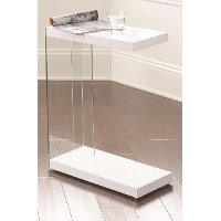 Modern Contemporary White Side Table - Elaina