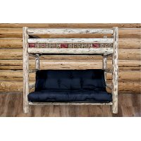 MWTWFMRV Rustic Clear Lacquered Log Twin-over-Full Futon Bunk Bed - Montana