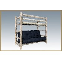 Mwtwfmrv Rustic Clear Lacquered Log Twin Over Full Futon Bunk Bed Montana