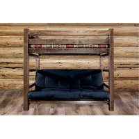 MWHCTWFMRSL Rustic Dark Brown Twin Bunk-over-Full Futon Bed - Homestead