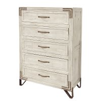 Rustic Contemporary Pearl White Chest of Drawers - Camelia