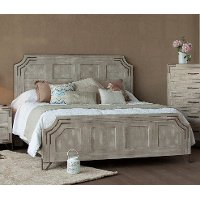 Pearl White Rustic Contemporary Queen Bed - Camelia