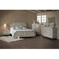 Pearl White Rustic Contemporary 6 Piece Queen Bedroom Set - Camelia