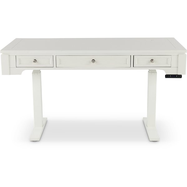 Adjule Height White Office Desk Catalina