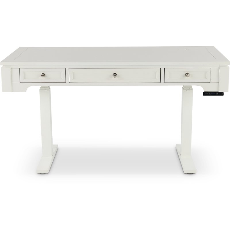 Power Adjustable Height White Office Desk - Catalina