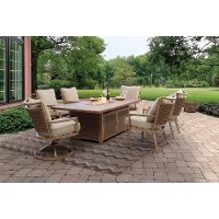 7PC:TREVI,4LNG,2SWVL 7 Piece Outdoor Patio Dining Fire Pit Set