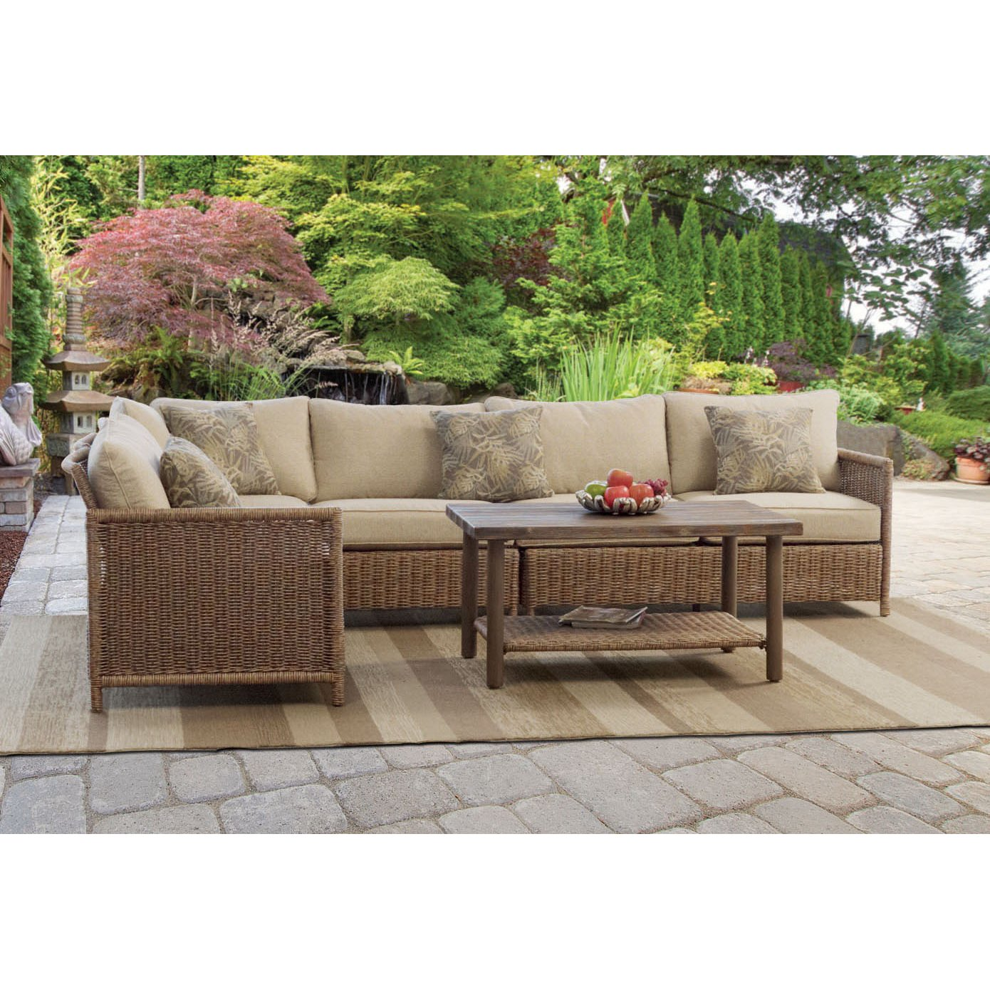 set pe detail sectional sofa rattan couch product patio deck new wicker furniture outdoor