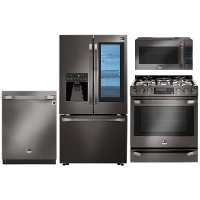 PACKAGE LG STUDIO 4 Piece Kitchen Appliance Package with Gas Range - Black Stainless Steel