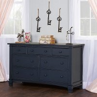 827-DN Distressed Navy Double Dresser - Santa Fe