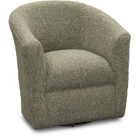 Faux Sheepskin Gray Swivel Barrel Accent Chair - Samantha