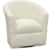 Faux Sheepskin Natural Swivel Barrel Accent Chair - Samantha