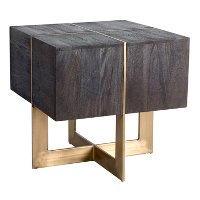 Modern Espresso Brown and Brass End Table - Desmond