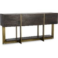 Modern espresso brown and brass sofa table desmond rc for Sofa table rc willey