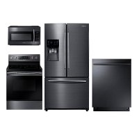 PACKAGE Samsung 4 Piece Electric Kitchen Appliance Package with French Door Refrigerator - Black Stainless Steel