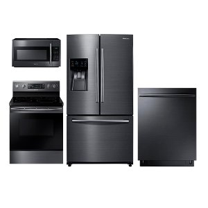 package samsung black stainless steel 4piece kitchen appliance package with electric range