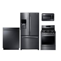 PACKAGE Samsung 4 Piece Kitchen Appliance Package with Gas Range - Black Stainless Steel