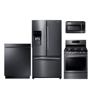 package samsung black stainless steel 4 piece kitchen appliance package with gas range samsung black stainless steel 4 piece kitchen appliance package      rh   rcwilley com