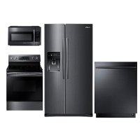 PACKAGE Samsung 4 Piece Kitchen Appliance Package with Electric Convection Range - Black Stainless Steel