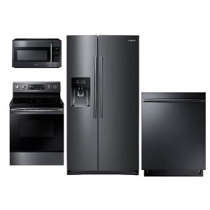 ... PACKAGE Samsung Black Stainless Steel 4 Piece Kitchen Appliance Package  With Electric Range ...