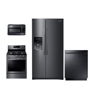 ... PACKAGE Samsung Black Stainless Steel 4 Piece Kitchen Appliance Package  With Gas Range ...