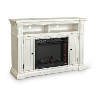 Distressed White 60 Inch Fireplace TV Stand - New Castle