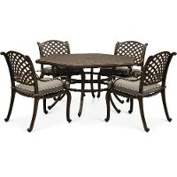 Brown 5 Piece Outdoor Patio Dining Set - Castle Rock